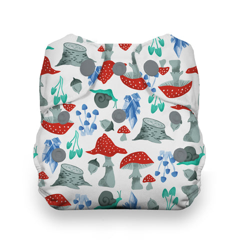 Thirsties Forest Frolic Natural newborn all in one cloth diaper - Mushrooms, snails and acorns print on super absorbent natural fabric