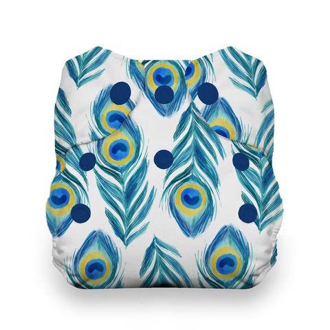 Thirsties Plume Natural Newborn All In One Cloth Diaper - Peacock Feather prints with super absorbent fabrics