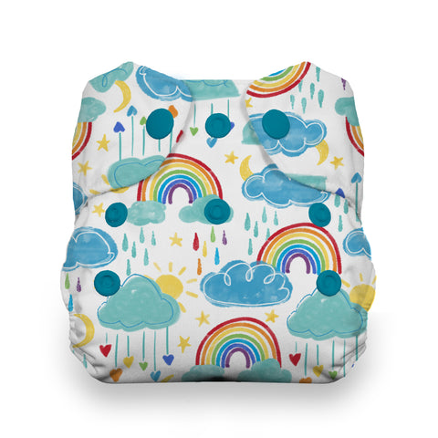 Thirsties rainbow Natural Newborn All In One Cloth Diaper - rainbows and rain clouds cute cartoon diaper