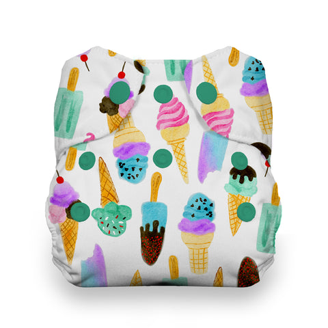 Thirsties We All Scream Natural Newborn All In One Cloth Diaper - ice cream cones and popsicles print cloth diaper