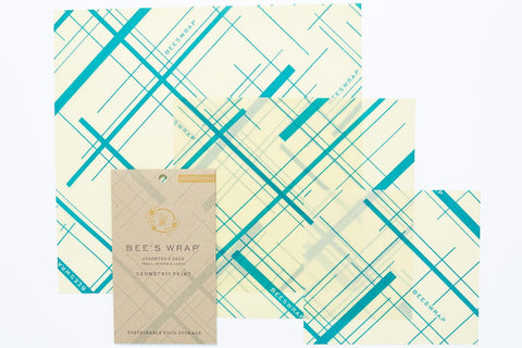 Bees Wrap 3 Pack Assorted Sizes, Small Medium Large in Geometric Teal