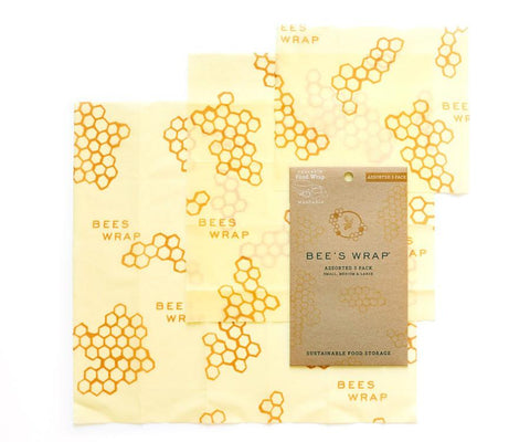 Bees Wrap 3 Pack Assorted Sizes, Small Medium Large in Honeycomb