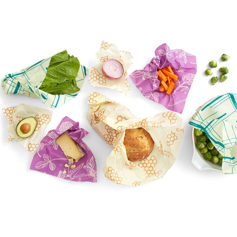 bees wrap variety pack, small medium large and bread wrap - zero waste living, plastic free, compostable, food wrap