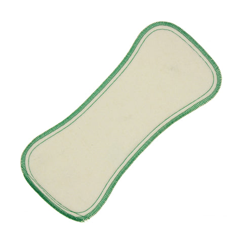 Best Bottom Hemp Cloth Diaper Insert 3 pack Small, green stitching