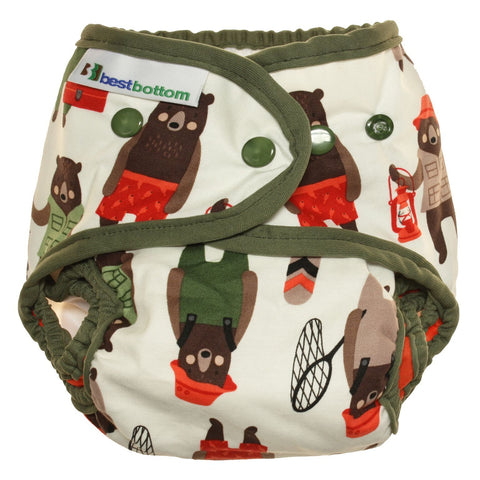 Best Bottom Brawny Bears,  Snap Shell, Waterproof Diaper Cover, Gone Fishing Bears