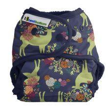 Best Bottom Cotton caribou Bloom,  Snap Shell, Waterproof Diaper Cover, Navy and moss green caribou and flowers