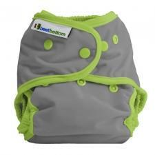 Best Bottom Dragonfly Snap Shell, Waterproof Diaper Cover, Grey and Lime