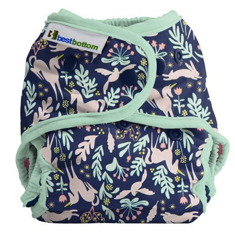 Best Bottom Cotton Enchanted Unicorn Sage, Snap Shell, Waterproof Diaper Cover, Sage green trim and unicorns