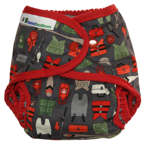 Best Bottom Here Fishy Fishy, Snap Shell, Waterproof Diaper Cover, Red Fishing Bears Winter Scene