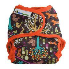 Best Bottom Cotton Jewel Woods,  Snap Shell, Waterproof Diaper Cover, Brown and Oragne and jewel tone woodland theme and foxes