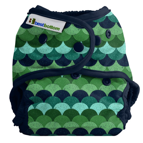 Best Bottom Loch Ness Snap Shell, Waterproof Diaper Cover, green fish scales dragon scales