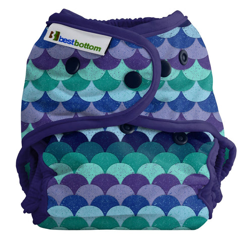 Best Bottom Mermaid Tail Snap Shell, Waterproof Diaper Cover, Purple and Aqua Fish Scales, Dragon Scales, Mermaid Scales,