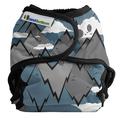 Best Bottom Summit, Snap Shell, Waterproof Diaper Cover, Mountain Range Grey