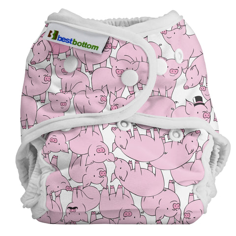 Best Bottom This Little Piggy, Snap Shell, Waterproof Diaper Cover, PInk Pig Diaper