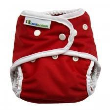 Best Bottom Very Cherry Red, Snap Shell, Waterproof Diaper Cover, Red and White
