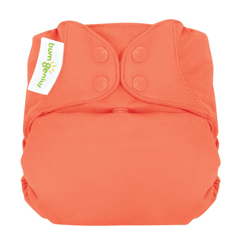 bumgenius elemental Kiss orange peach - One Size Organic Cotton All In One Cloth Diaper
