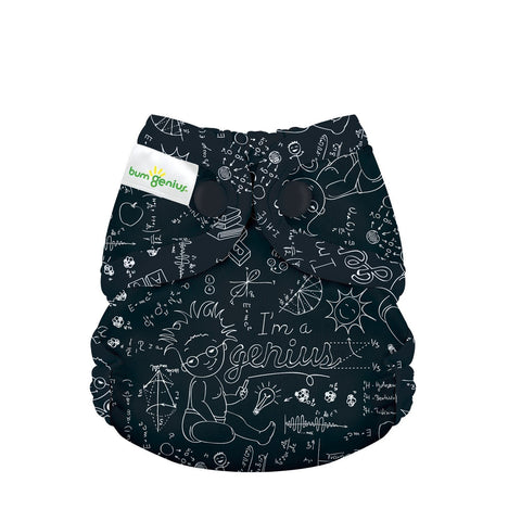 bumGenius Littles 2.0 Newborn All in One With snap closure, ALbert print, Chalkboard equations and baby einstein, Love my Cloth Diapers