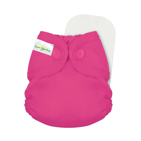 bumGenius Littles 2.0 Newborn All in One With snap closure, Countess Magenta Hot Pink Color Cloth Diaper