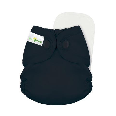 bumGenius Littles 2.0 Newborn All in One With snap closure, Fearless black color cloth diaper