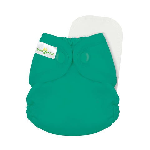 bumGenius Littles 2.0 Newborn All in One With snap closure, HUmmingbird Dark green teal color, cloth diaper