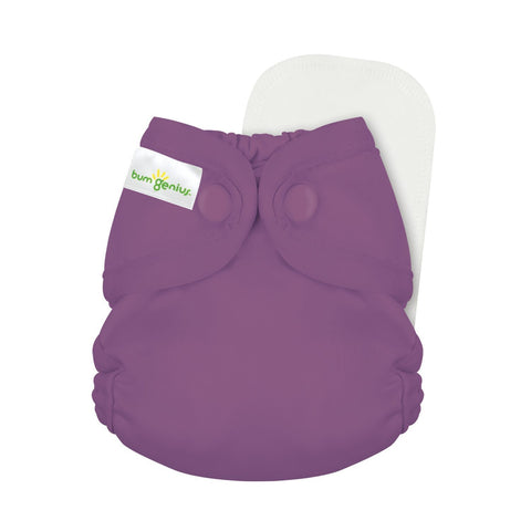 bumGenius Littles 2.0 Newborn All in One With snap closure, Jelly grape Purple color, Cloth Diapers