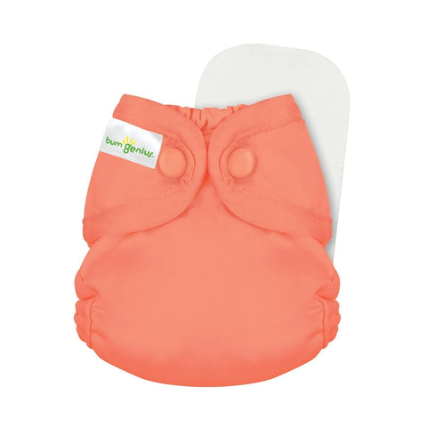 bumGenius Littles 2.0 Newborn All in One With snap closure, Kiss Color, orange, coral, peach orange, Cloth Diapers