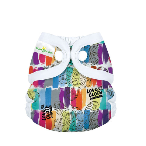 bumGenius Littles 2.0 Newborn All in One With snap closure, Love print, Rainbow Paintbrush Love my Cloth Diapers