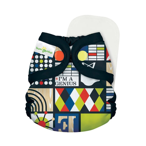 bumGenius Littles 2.0 Newborn All in One With snap closure, Mid Century Modern print, Retro design