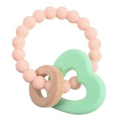 Chewbeads Brooklyn Teether Blush Pnk and mint green heart