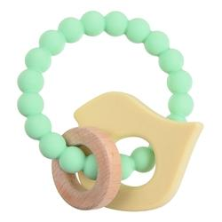 Chewbeads Brooklyn Teether Mint Green and Light Yellow Ivory Chick wood and silicone teether
