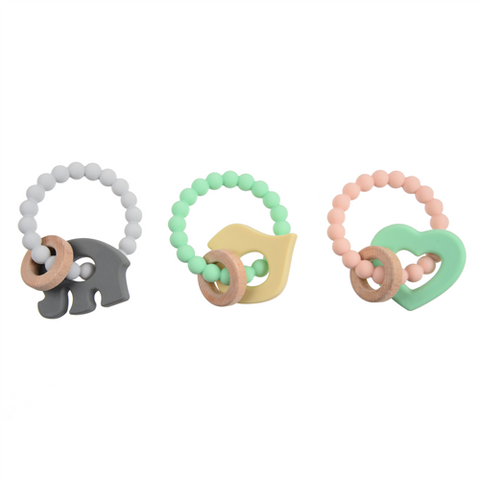 Chewbeads Brooklyn Teethers Wood and Silicone Teethers for Teething Babies and Gnawing