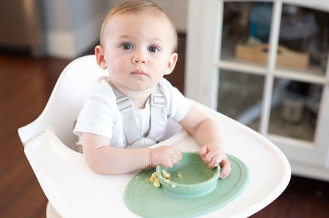 ezpz tiny bowl - in use fits the high chair tray self feeding silicone mat and bowl