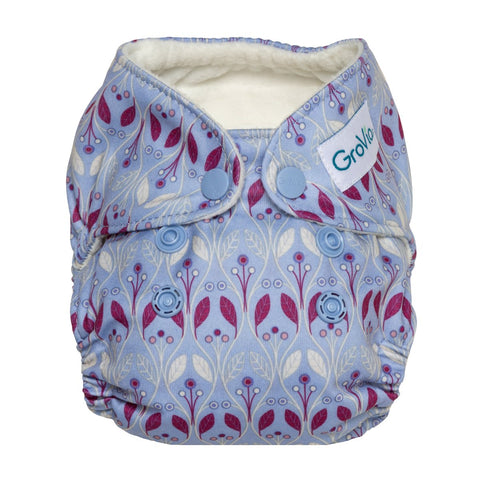 GroVia Newborn All In One Cloth Diaper Waverly, Purple & MAgenta scandinavian print