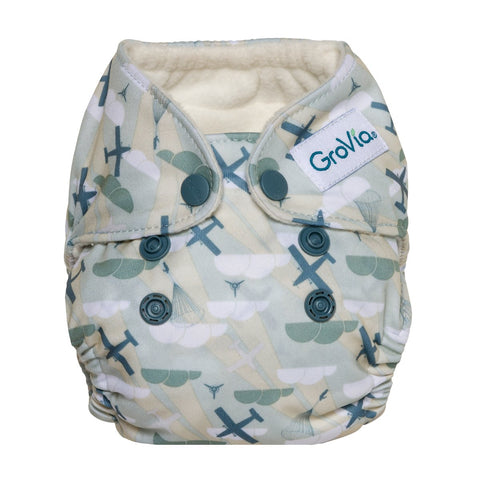 GroVia Newborn All In One Cloth Diaper  Maverick, Planes and Airplanes Print
