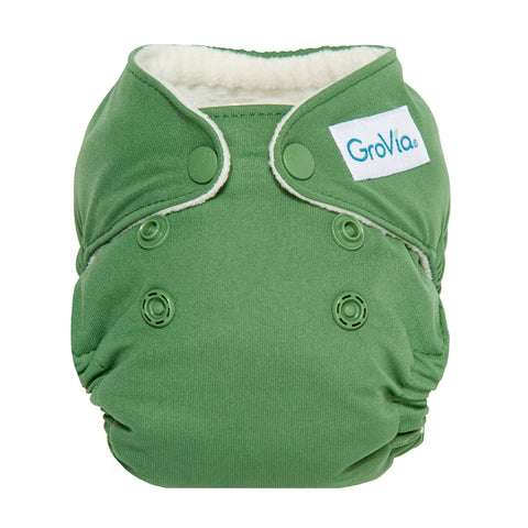 GroVia Newborn All In One Cloth Diaper, GroVia NB AIO, Basil, Green,
