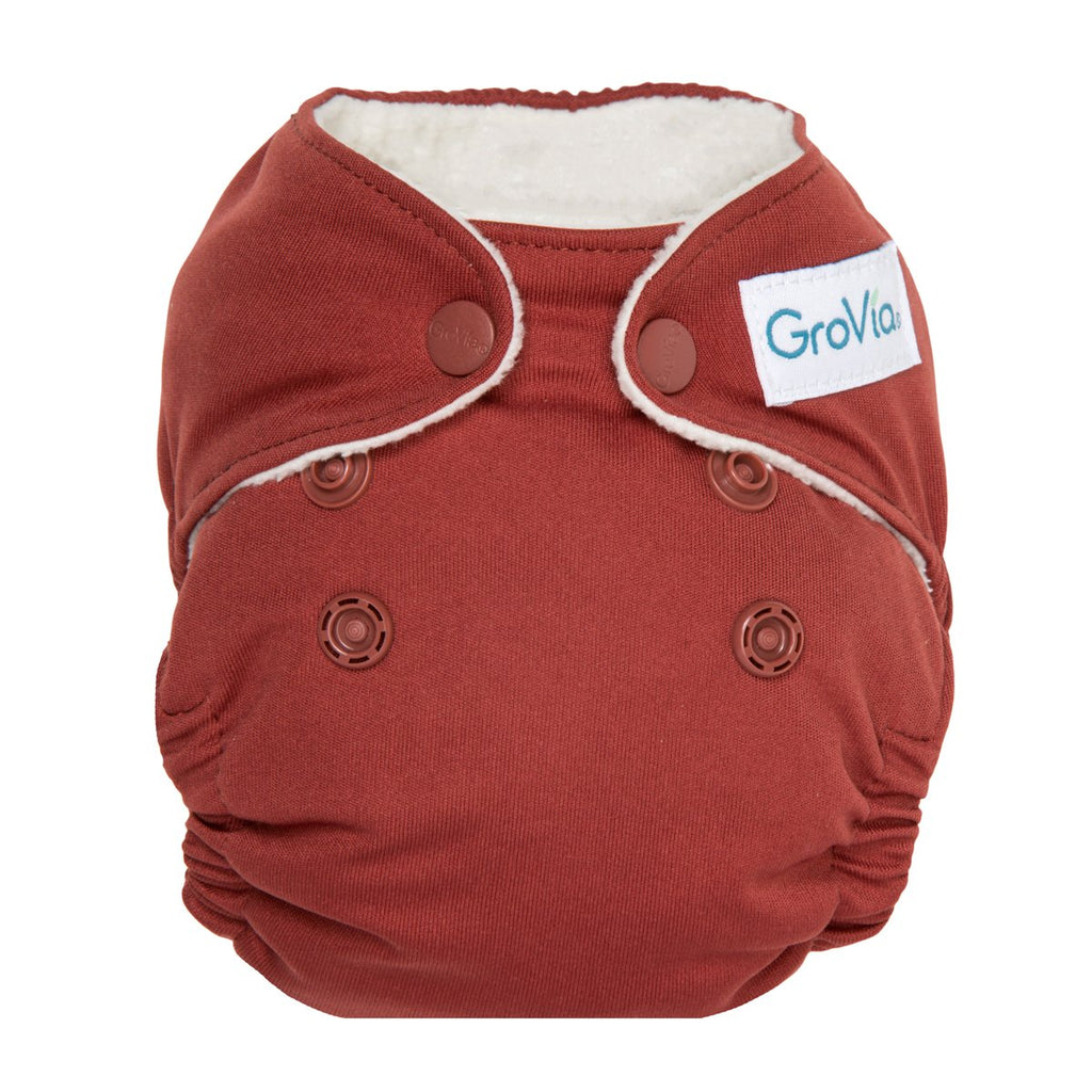 GroVia Newborn AIO All In One Cloth Diaper, Marsala, Red, Maroon, Newborn Cloth Diaper