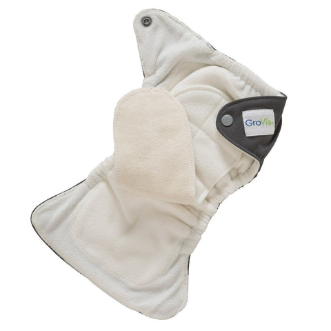 GroVia Newborn All In One Cloth Diaper - Inside Image of how the diaper works Hemp Cotton attached soaker pad top lined with a soft stay dry fleece