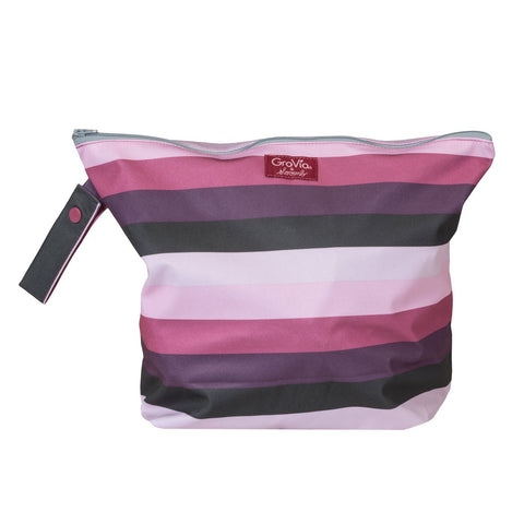 GroVia Wet Bag in Sugar Rush, lilac, magenta, grape and deep violet stripes - durable and water resistant wet bag for your diaper bag for soiled and dirt cloth diapers