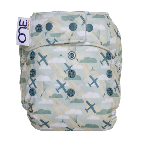 GroVia ONE Maverick; Airplane Cloud One Size All in One Cloth Diaper print