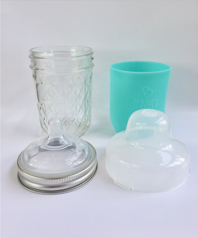 Mason Bottle - Zero Waste Glass Bottle All in One with MAson Jar 4oz or 8 oz