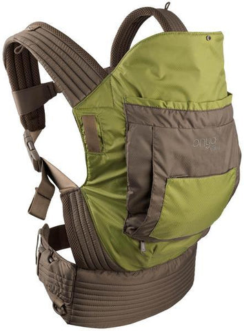 Onya Baby Carriers, Outback, Olive Green and Chocolate Chip,  Ripstop Nylon Outdoor baby carrier, hot weather, moisture wicking cool, mesh, performance, Side View
