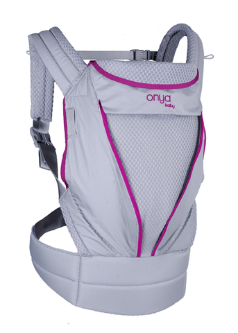 Onya Baby Pure Mesh Carrier, zip away mesh,  lightweight and breathable baby carrier, orchid pink and grey