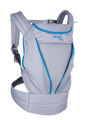 Onya Baby Pure Mesh Carrier, zip away mesh,  lightweight and breathable baby carrier, Atol Blue and grey
