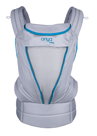 Onya Baby Pure Mesh Carrier, lightweight and breathable baby carrier, atoll blue and grey