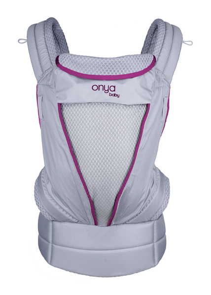 Onya Baby Pure Mesh Carrier, lightweight and breathable baby carrier, orchid pink and grey