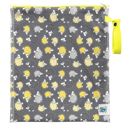 PLanet Wise Lite Medium Wet Bag, Hedgehogs Yellow and Grey Hendgehogs on bog, Yellow snap closure handle, Reusable Wet Bag for dirty diapers in the diaper bag and for changing table station