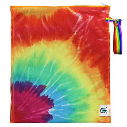 PLanet Wise Lite Medium Wet Bag, Totally Tie Dye, Tie Dye Print with full rainbow of colors with Rainbow Snap Handle,  Reusable Wet Bag for cloth diapers