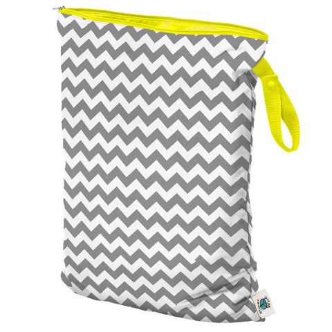 Planet Wise Large Wet Bag, Hanging, Grey and White Chevron, Yellow for Cloth Diapers, Yoga Bag or Gym Bag Clothes,