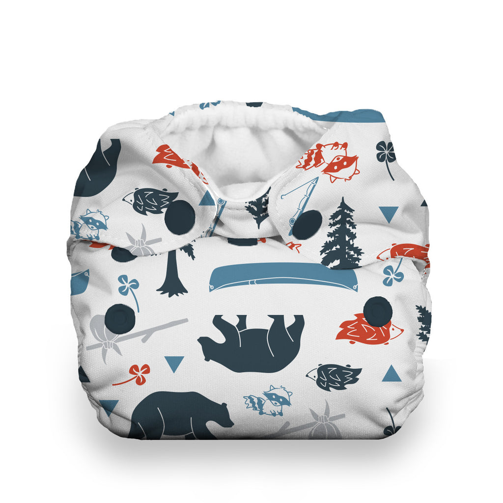 Thirsties Natural Newborn All In One Cloth Diaper - Adventure Trail, camping, bears, nature, canoe and porcupine