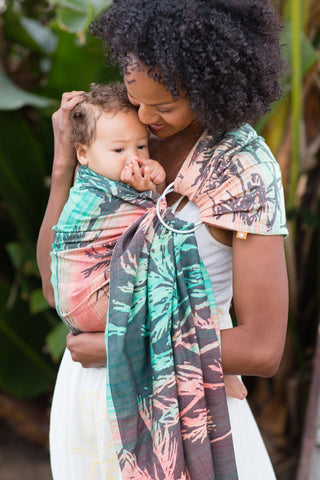 Tula Ring Sling, Seaside Miami, Green Pink and black , Palm trees and ocean waves, Tula Ring Sling Carrier,